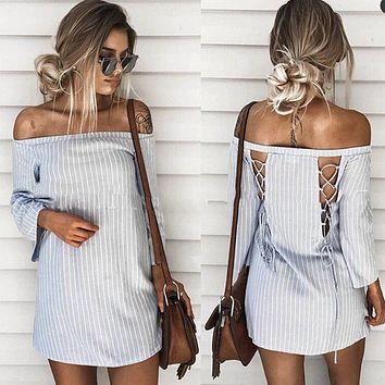 Fashion Stripe Back Hollow Off Shoulder Long Sleeve Mini Dress