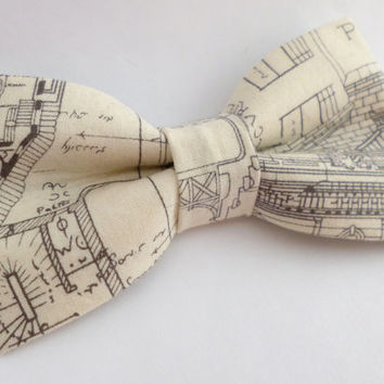 Street map bow tie, mens bow tie, architect bow tie, architectural plan bow tie, cream bow tie, mens white bow tie vintage street map print