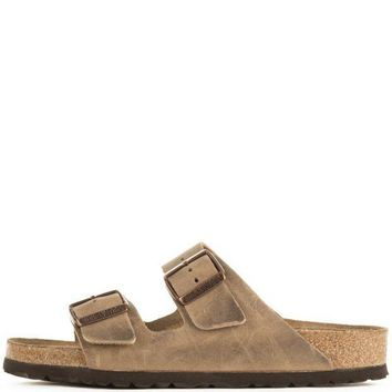 VONEOKJ Birkenstock Unisex: Arizona Waxy Leather Soft Footbed Tobacco Brown Sandals