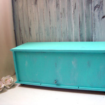 Large Teal Vintage Jewelry Box, Aqua Wooden Musical Jewelry Chest, Big Jewelry Holder, Shabby Chic, Beach Chic Box, Music Box, Gift Ideas