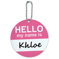 Khloe Hello My Name Is Round ID Card Luggage Tag