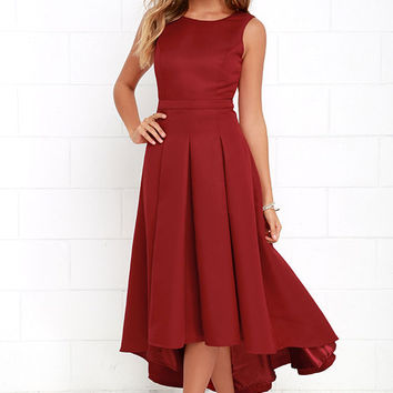 Paso Doble Take Wine Red High-Low Dress