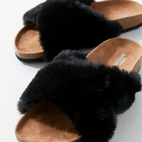 Crossed Faux Fur Slide | Urban Outfitters