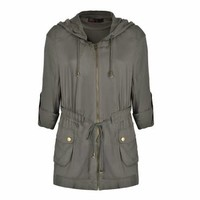 SOFT CASUAL JACKET WITH HOOD AND POPPER POCKETS