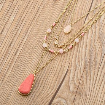 Bohemia Multilayer Gold Chain Necklaces Natural Stone Pink Crystal Beads Pendant Statement