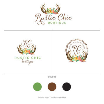 Rustic Branding Package Design, Small Business Logo, Bohemian Branding Design, Watercolor Antlers Logo, Tribal Logo, Flowers and Antlers