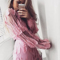 Pink Floral Embroidery Deep V-Neck Sheer Dress