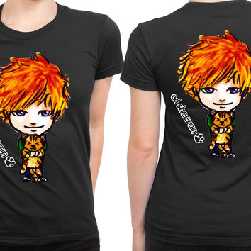 Ed Sheeran Cartoon With His Cat 2 Sided Womens T Shirt