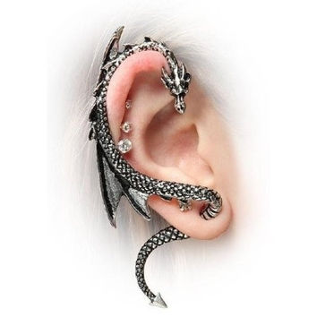 PRO Base The Dragon's Lure Stud Gothic Earring-Antique Silver Style = 1946171204