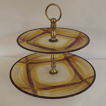 1937 to 1958 - Metlox Vernonware Two-Tier Serving Tray in Brown and Yellow Organdie Pattern -