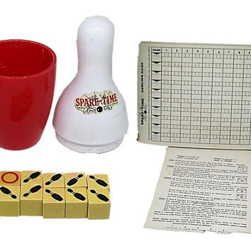 "Vintage Bowling Game ""Spare Time"" - Original Spare-Time Dice Game, MidCentury Bowling Pins Bakelite Dice, Table Top Dice Game, Family Game"