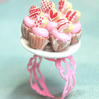 valentine's day sugar cookie cupcake plate ring