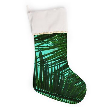"""PIA SCHNEIDER """"GREENERY PALM LEAVES V2"""" Green Teal Nature Pop Art Photography Mixed Media Christmas Stocking"""