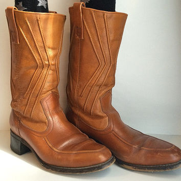 Mens Leather 1970s Boots Mens Size 7 Brown Platform Heel Western Cowboy American Hustle Ankle Hawk Vintage Clothing