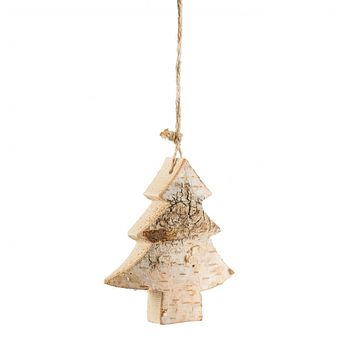 """Carved Birch Tree Shaped 4"""" Christmas Ornament"""