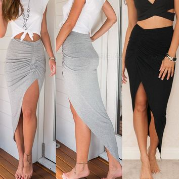 Skinny Slit Maxi Long Pencil Skirt  Size 6-16 Slim FREE SHIPPING