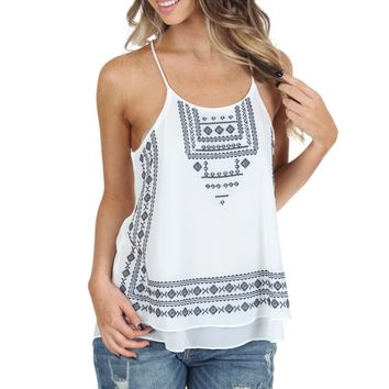 Aztec Embroidered Tank