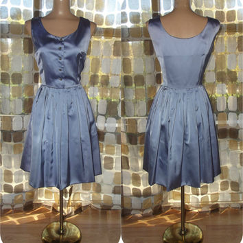 Vintage 50s Dress | 1950s Full Dress | Periwinkle Satin | Rhinestones | By Robbie Reid | Plus Size 16 1X XL | TLC