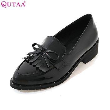 QUTAA 2017 Women Pumps Ladies Shoe Square Low Heel Pointed Toe PU Patent Leather Bow Tie Tassel Woman Wedding Shoes Size 34-43