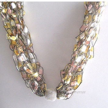 ON SALE Crochet Necklace Trellis Ribbon Ladder Yarn Necklace Yellow Pink Silver Bead Casual Necklace Boho Jewelry Gift for Mom
