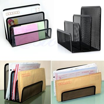 Black Document Desk Mesh Letter Sorter Mail Tray Office File Organizer