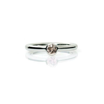0.16ct Champagne diamond ring, diamond engagement ring, unique diamond ring, bezel, white gold, yellow gold, rose gold, simple, fancy color