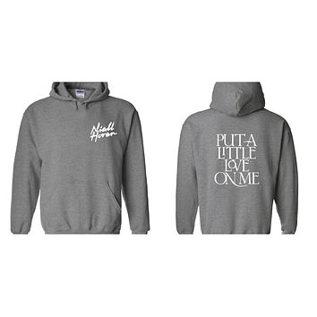 "Niall Horan ""Niall Horan New Logo / Put a Little Love on Me BACK"" Hoodie Sweatshirt"