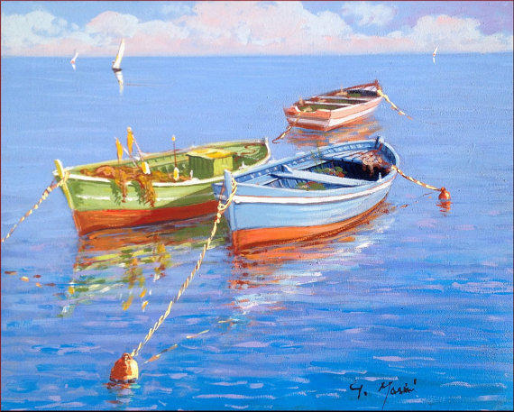 Italian painting seascape with fishing from modiarte on etsy for Fishing boat painting