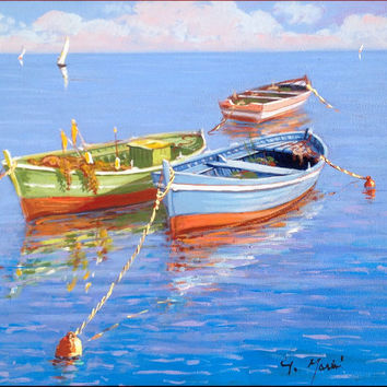 Italian painting seascape with fishing boats Mediterranean Sea original oil on canvas of Gino Masini Italy Italia