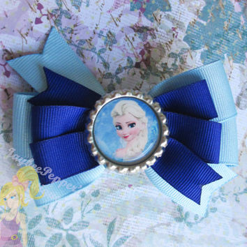 Elsa Hair bow Frozen hair bow disney hair clip girls snowflakes winter bottle cap over the top boutique toddler white baby blue snow queen