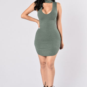 Look Don't Touch Dress - Olive