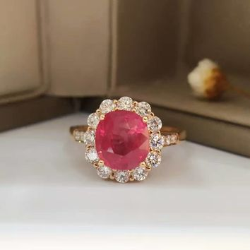 18K Gold 2.682ct Natural Ruby Women Ring with 0.692ct Diamond Setting 2016 New Fine Jewelry Wedding Band Engagement