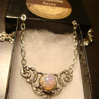 Victorian Style Fire Opal Necklace in Antique Silver (1569)