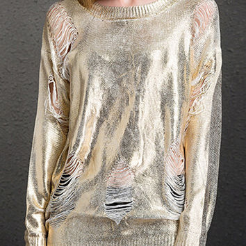 Distressed Metallic Gold Sweater