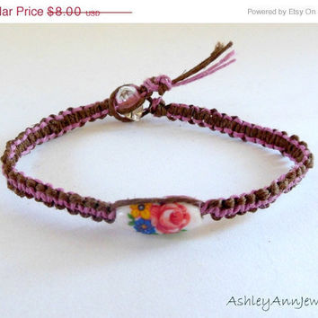 15% off CIJ SALE Vintage Style Flower Hemp Bracelet Pink Brown