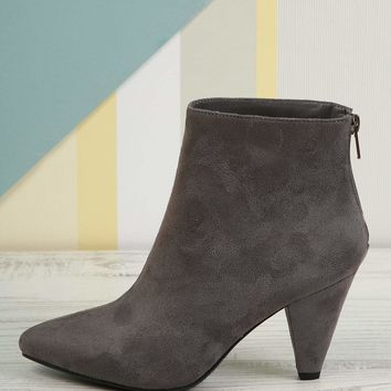 Low Cone Heel Pointy Toe Ankle Booties
