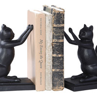 One Kings Lane - Cottage Charm - Pair of Cast Iron Cat Bookends