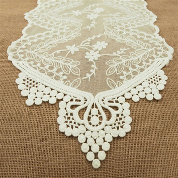 Floral Lace Table Runner, 12-inch, 6-feet, Ivory