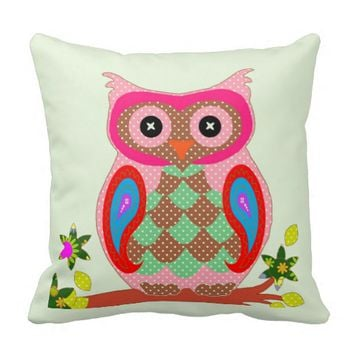 Cute Colorful Retro Groovy Floral Owl Throw Pillow