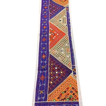 Mogul Blue Table Throw Embroidered Handicraft Patchwork Traditional Indian Tapestry Table Runner