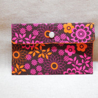 Pretty Brown, Orange and Pink Floral Pouch