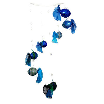 modern mobile blue fishes. Sparkles blue, green, light blue flakes.100% handmade. The tail of chiffon. blue fish and beads spin in a spiral.