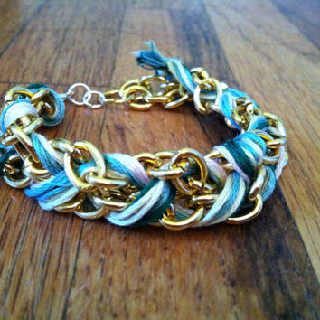 Spring Colored String and Gold Chain Fishtail Bracelet