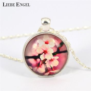 LIEBE ENGEL Flower Tree of Life Dome Glass Cabochon Pendant Silver Color Chain Necklace Maxi Choker Necklace 2017
