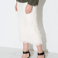 Ivory Ruffled Midi Skirt