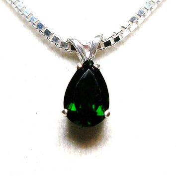 "Chrome diopside,  diopside pendant, green necklace, green jewelry, green, anniversary,  ""Spring Moss"""