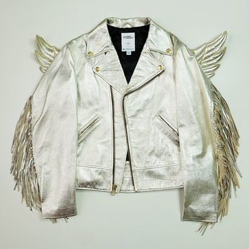 Vintage ADIDAS x JEREMY SCOTT Wings Gold Silver Leather Rock Star Pun Rock Angel Riders Motorcycle Biker Jacket Size S SK2318