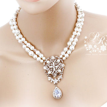 Wedding Necklace Double strands Swarovski Pearl Rhinestone necklace wedding Jewelry set Bridal Necklace backdrop