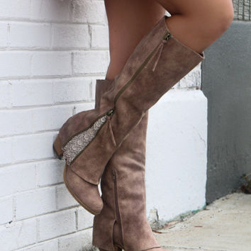 NOT RATED Celestial Falls Taupe Heeled Boots With Double Zipper & Lace Trim