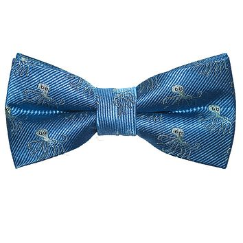 Octopus Bow Tie - Blue, Woven Silk, Pre-Tied for Kids